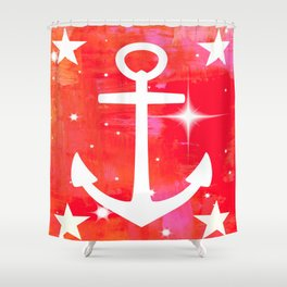 Anchor on Red Background Shower Curtain