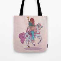 carousel Tote Bags featuring Carousel by Leigh Wortley