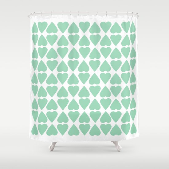 Diamond Hearts Repeat Mint Shower Curtain