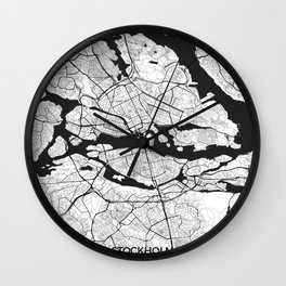 Stockholm Map Gray Wall Clock