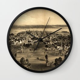 Vintage Pictorial Map of Hamilton Ontario (1859) Wall Clock