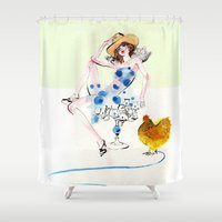 rooster Shower Curtains featuring Rooster by Hyegallery