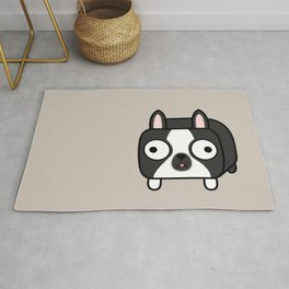 Boston Terrier Loaf - Black and White Dog Rug