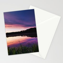 Sunrise over the lake Stationery Cards