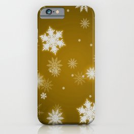 Winter Snowflakes on Christmas Gold iPhone Case