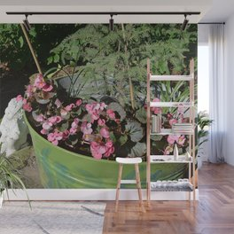 Sun kissed Garden Angel and Begonias Wall Mural