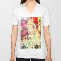 england V-neck T-shirts featuring Old England by Ganech joe