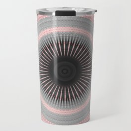 Metal Silver and Pink Mandala Abstract Travel Mug