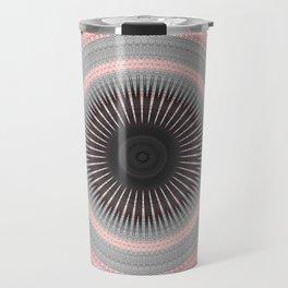 Metal Silver and Pink Mandala Abstract Travel Mug