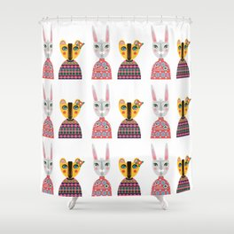 Rabbit and Bear Shower Curtain