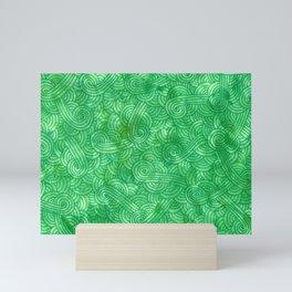 Bright green swirls doodles Mini Art Print