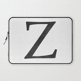 Letter Z Initial Monogram Black and White Laptop Sleeve