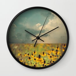 Yellow Hat Dance -- Dreamy Botanical Landscape Mexican Hat Coneflowers Afield Wall Clock