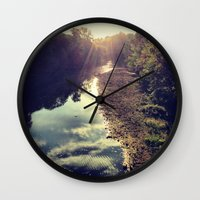river Wall Clocks featuring River by Spencer Martin