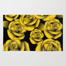 Yellow Halftone Roses Rug