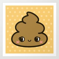 poop Art Prints featuring Cutey poop by Holly
