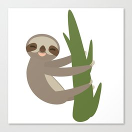Three-toed sloth on green branch on white background Canvas Print