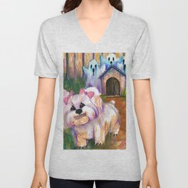 when the haunted house is the doghouse Unisex V-Neck