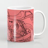 cafe racer Mugs featuring Red Norton Commando Cafe Racer by Larsson Stevensem