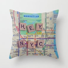 New York City, NYC Map, Subway, Travel Throw Pillow