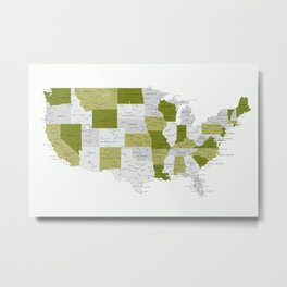 Green and grey USA map with labels Metal Print