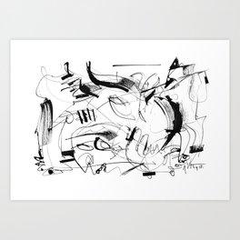 Crushed by a Bull - b&w Art Print