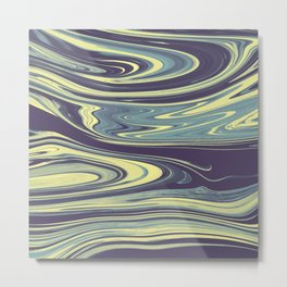 Modern abstract navy blue yellow watercolor marble Metal Print