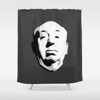 hitchcock Shower Curtains featuring Alfred Hitchcock by bonieiji