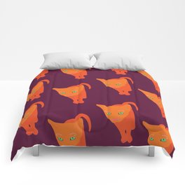 Orange cat with green eyes pattern Comforters