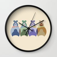 bears Wall Clocks featuring Bears by TypicalArtGuy