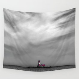 Red lighthouse on a cloudy day Wall Tapestry