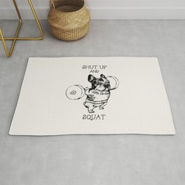 Shut Up and Squat French Bulldog Rug