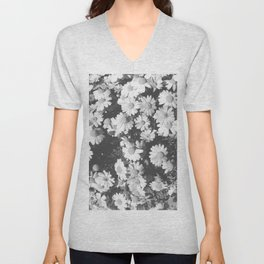Black and White Flowers Unisex V-Neck