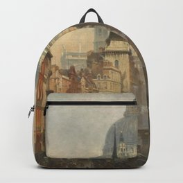 London skyline, Vintage view of St Paul's Cathedral Victorian era Backpack