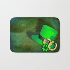 Symbols of luck on green textured background Bath Mat