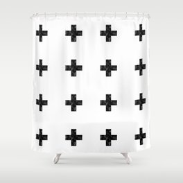 Watercolor Swiss Cross (White) Shower Curtain