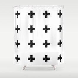 Watercolor Swiss Cross (White) Shower Curtain