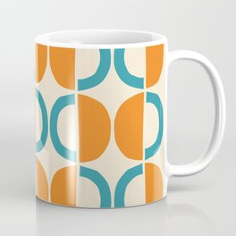 Mid Century Modern Half Circle Pattern 528 Beige Orange and Turquoise Coffee Mug