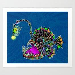 Electric Angler Fish Art Print