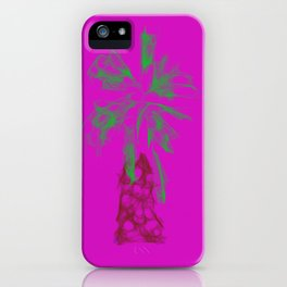 Palm tree in neon iPhone Case