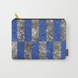 Metallic Blue And Silver Minimal Texture Abstract Pattern Of Geometric Collage Of Ink And Palladium Leaves. Carry-All Pouch