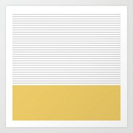 Minimal Gray Stripes - yellow Art Print