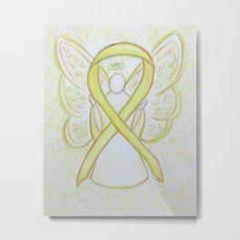 Yellow Awareness Ribbon Angel Art Metal Print