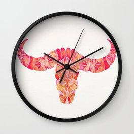 Water Buffalo Skull – Pink Ombré Wall Clock