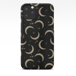Gold Glitter Crescent Moon + Stars iPhone Case