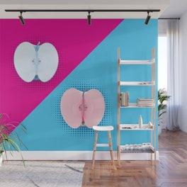 Apples halves pop art pink blue Wall Mural