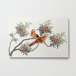 Chinese painting featuring birds of China (ca.1800–1899) from the Miriam and Ira D. Wallach Division Metal Print