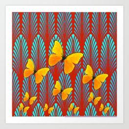 YELLOW ART DECO BUTTERFLIES & CUMIN COLOR ART Art Print