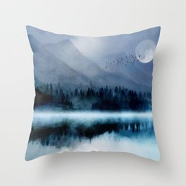 Mountainscape Under The Moonlight Throw Pillow
