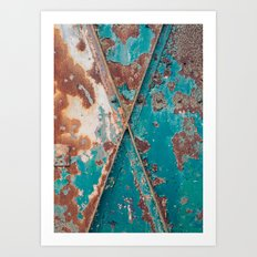 Teal and Rust Art Print